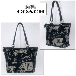 Coach Black & Gray Sateen Horse & Carriage Tote